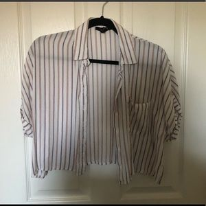 Striped Button Down Crop Top